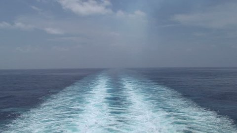 Cruise Ship Wake Open Ocean