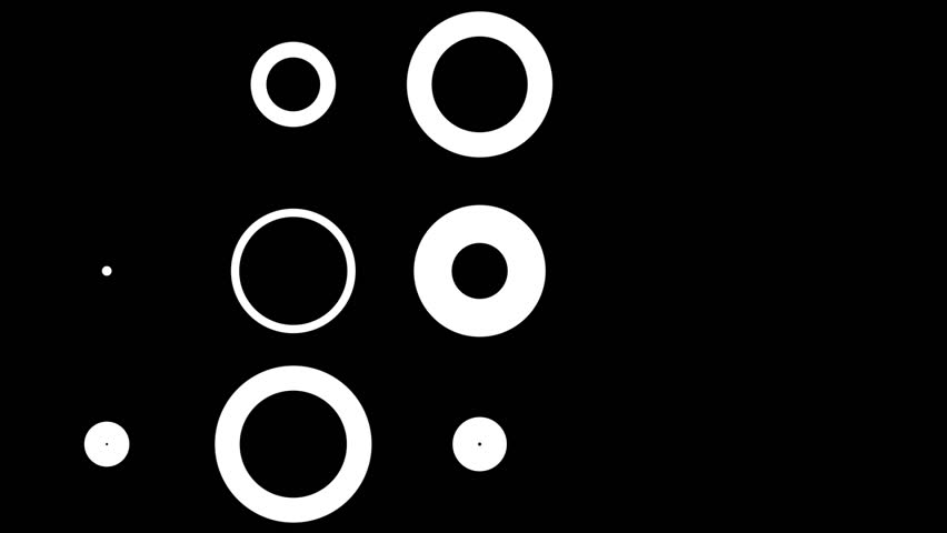 High Definition CGI motion backgrounds ideal for editing, led backdrops or broadcasting featuring some animation of white circles on a black background. Great for keying or masking!