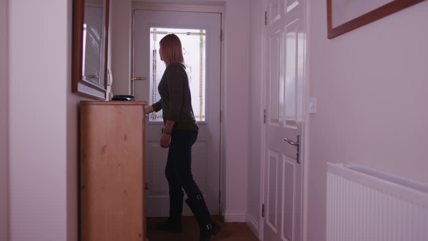 Woman opening the door for worker - HD stock footage clip & Young Businesswoman Opens Hotel Room Door Stock Footage Video ...