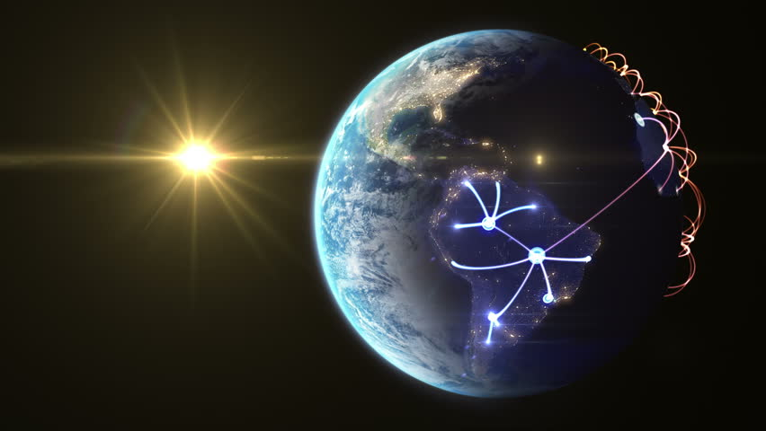 4K Growing network across the world. beautiful 3d animation, seamless loop (version with the Sun)