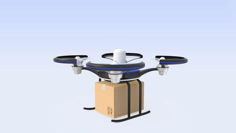 Drone carrying cardboard box for fast delivery concept
