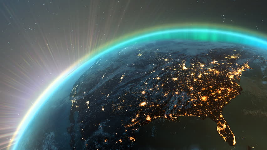 New highly detailed earth. America zone with aurora, night time and sunrise from space. 3D Render using satellite imagery (NASA). | Shutterstock HD Video #6479489