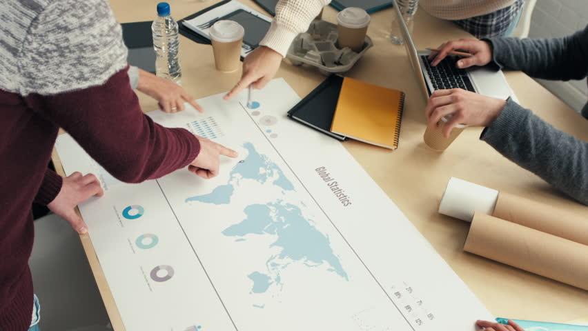 business team discuss global market trends