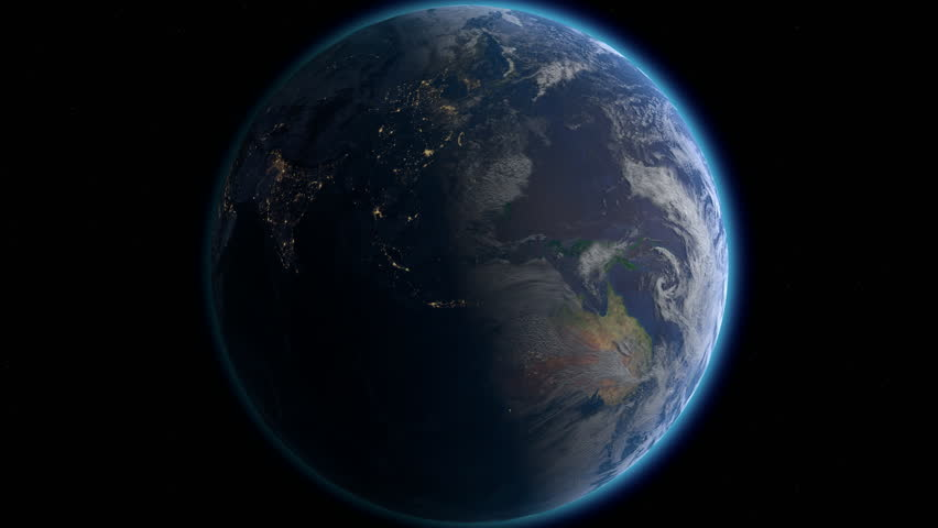 Planet Earth rotates, zoom to South America, 4K Ultra HD. Elements of this image furnished by NASA.