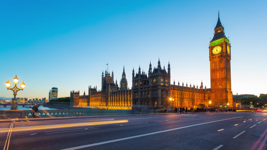 Time lapse footage of rush hour traffic on Westminster Bridge in London with Houses of Parliament and Big Ben in the background, London, England, United Kingdom | Shutterstock HD Video #6529517