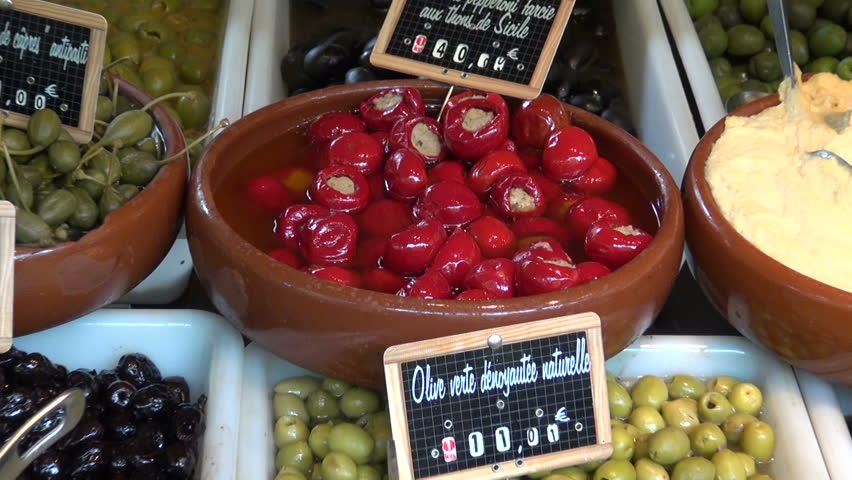Variety of olives and other gourmet food in the french market, Paris | Shutterstock HD Video #6529913
