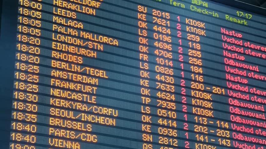 Airport departures board - Airport information board - Departures Flip Sign - Air transport - departures board panel - Flight schedule screens