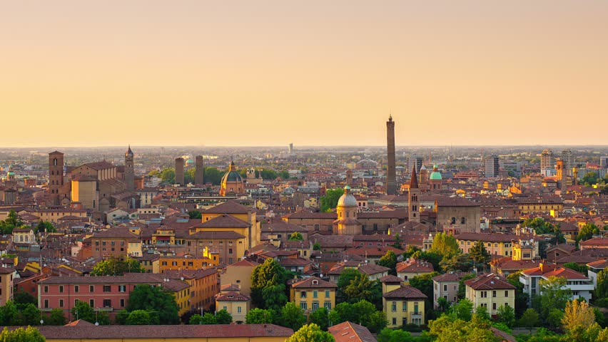 Panoramic view of bologna city at the sunset, time lapse from day to night skyline 4k | Shutterstock HD Video #6535004