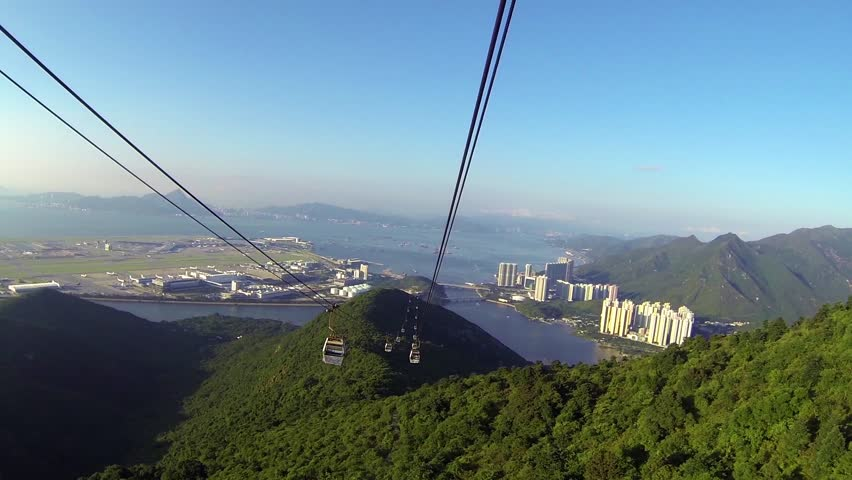 Cable Car way to mountains pov