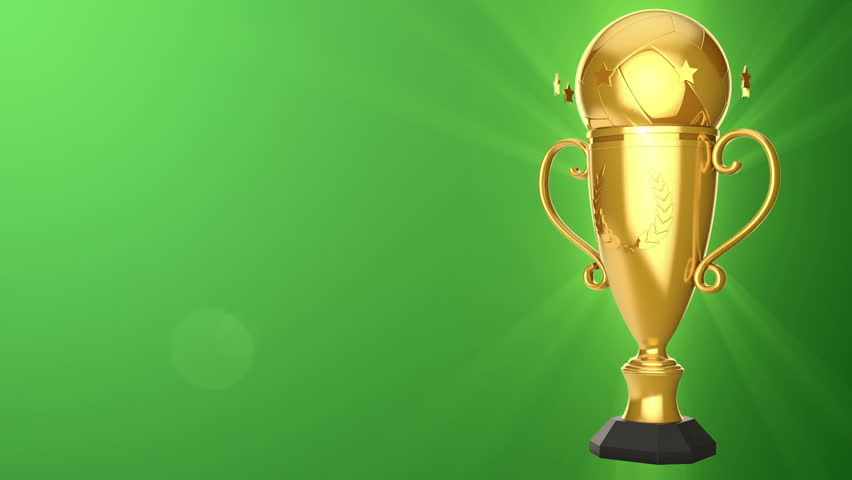 Rotation Golden Cup For Winners Of Volleyball Game Background Sports Movie Or Presentations Animation Seamless Loop