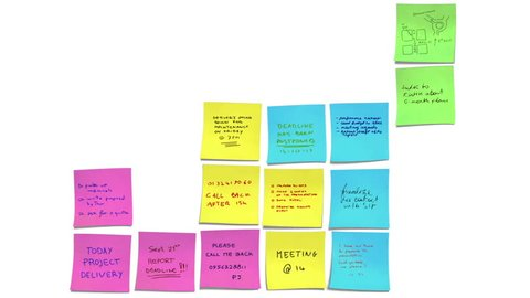 Post-it animation emulating a business related tetris video game with an early end. The post-its notes have work related massages. The animation evokes an inefficiently managed hectic time at work.