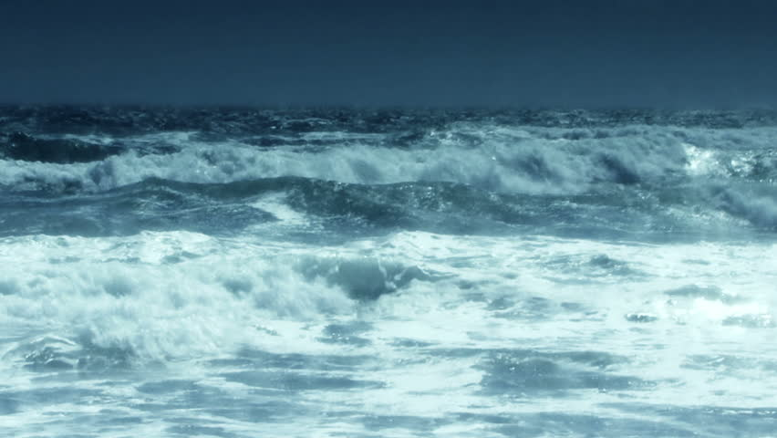 HD - Slow motion blue waves roll into shore. | Shutterstock HD Video #6656084