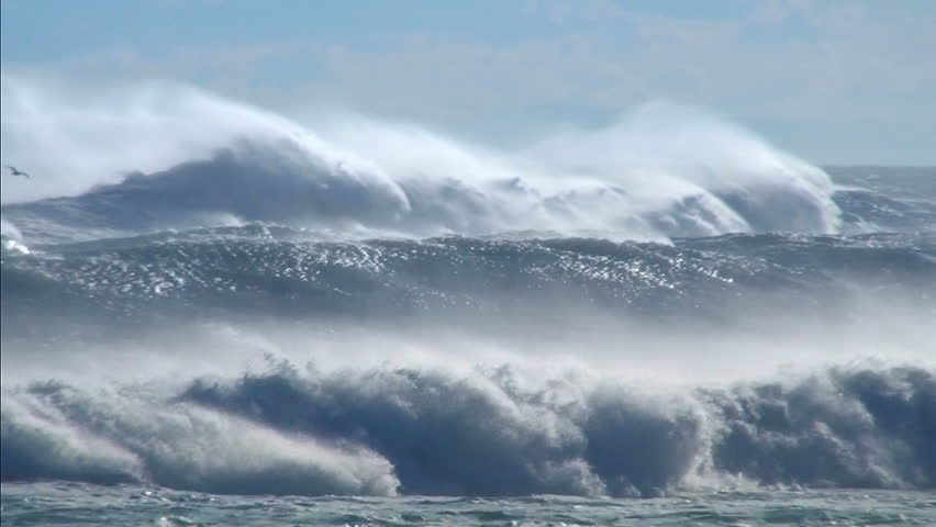 Ocean waves storm sea spray sea birds | Shutterstock HD Video #6693704