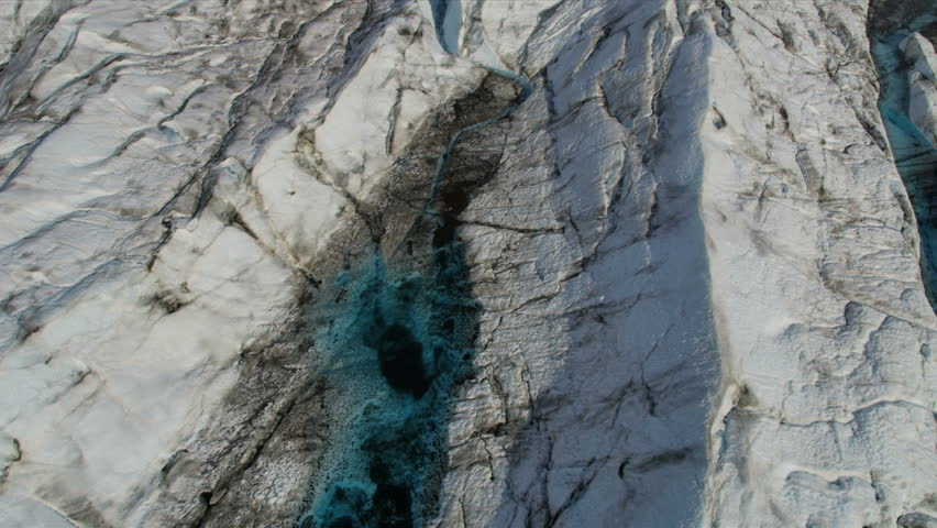 Aerial View Of Glacial Ice Pools Cold Blue Water USA Aerial - Usa northern hemisphere