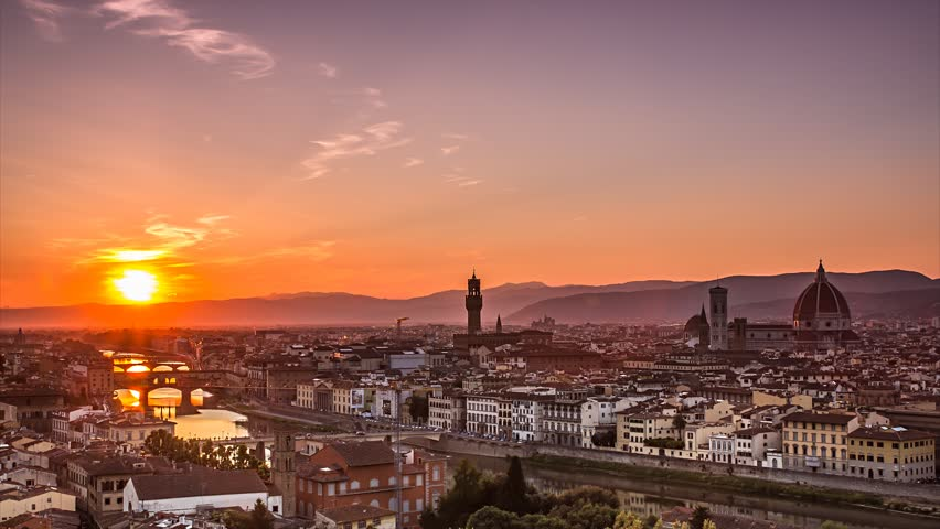 florence panorama cityscape day to night time lapse,city lighting up after sunset