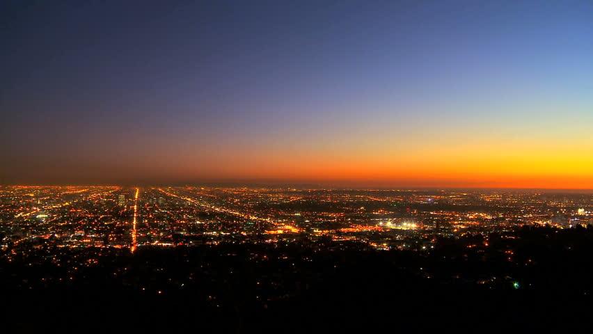 Enregistrer - Time-lapse Sunset Over Los Angeles Vidéos De Stock (100 % Libres De