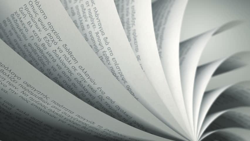 Turning Pages (Loop) Greek Book. Pages with random Greek words / sentences. Seamless Loop, depth of field. | Shutterstock HD Video #6752311