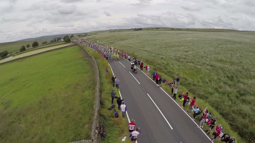 Mythomroyd, West Yorkshire/United Kingdom-July 6th: Tour De France 2014 cycling race passes through West Yorkshire, England for the first time in history.