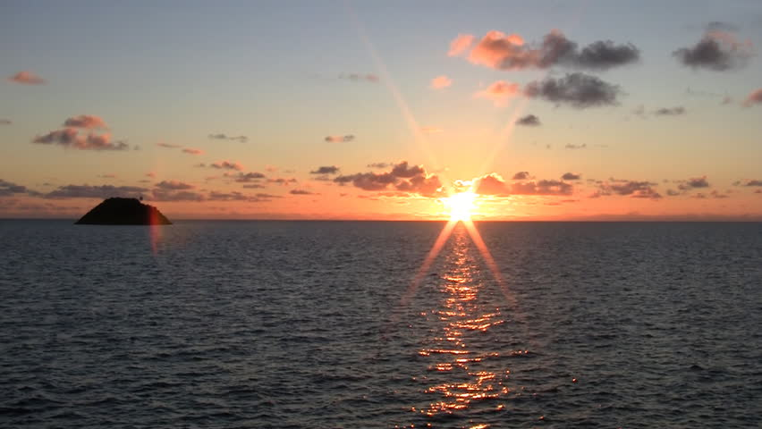 Beautiful sunrise on the caribbean sea in Providence island - HD stock video clip