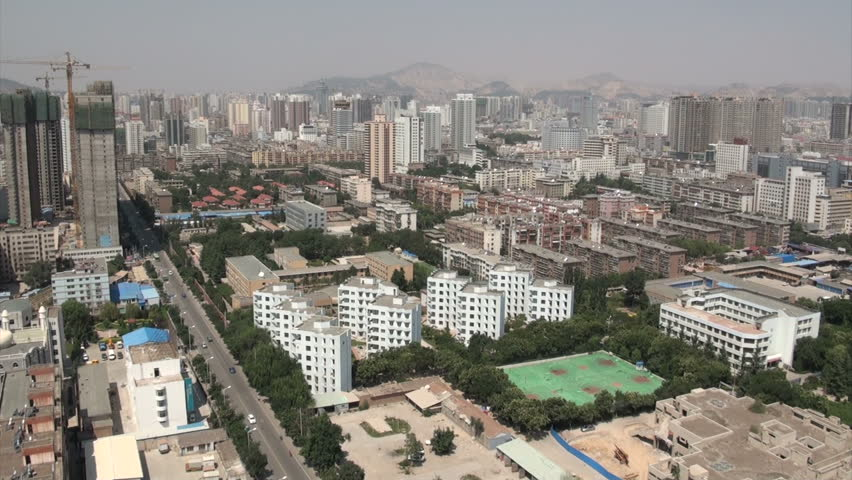 LANZHOU, CHINA - 27 AUGUST 2010: The skyline of Lanzhou, a major city in Central China