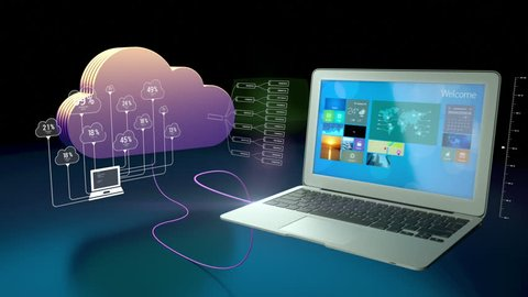 Abstract animation of a cloud connecting to various devices such as laptop, tablet, mobile phone and a smart watch