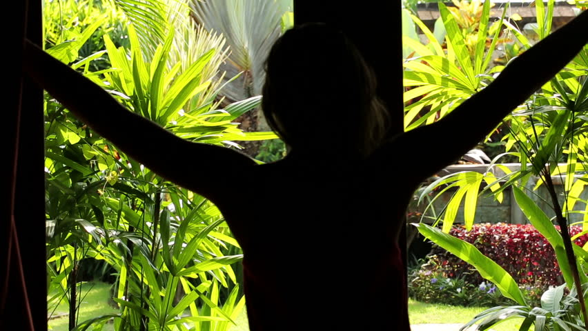 Woman Open Curtains With View At Beautiful Garden Stock Footage