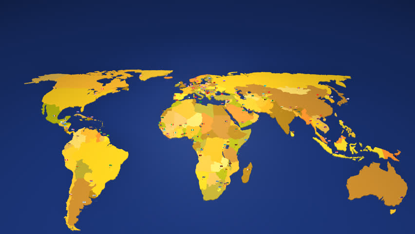 Loop animation of an illuminated world map countries light up in worldmap with all the capital cities of the world each capital has the national flag gumiabroncs Images