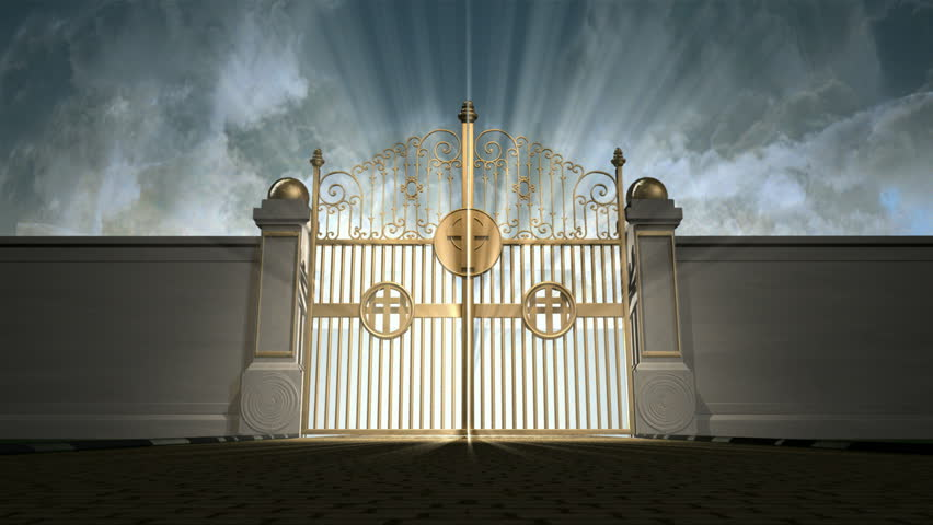 Heavens Golden Gates Opening To An Ethereal Light On A ...