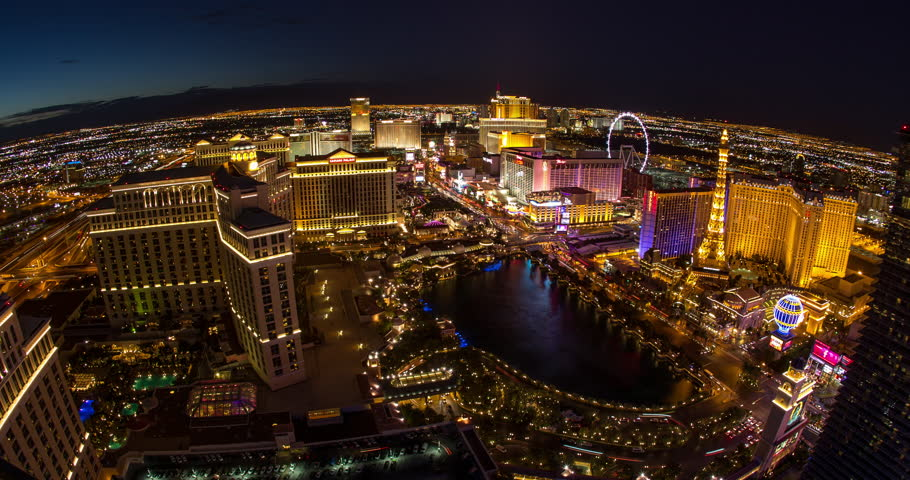LAS VEGAS - CIRCA JULY 2014: Las Vegas strip evening night neon lights | Shutterstock HD Video #6862594