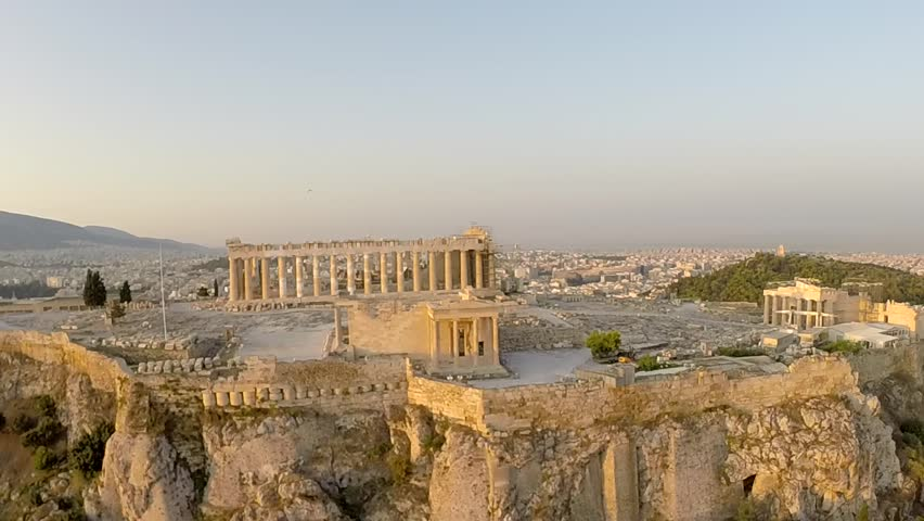 Acropolis Parthenon in Athens Greece Aerial footage Panoramic view