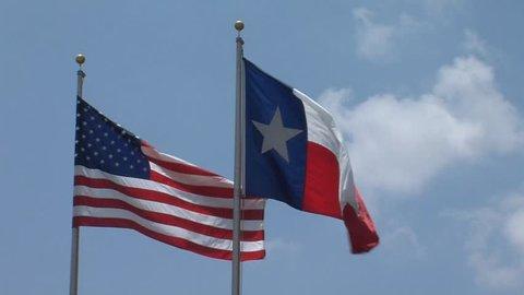 USA and Texas flag (various shots, TV broadcast quality)