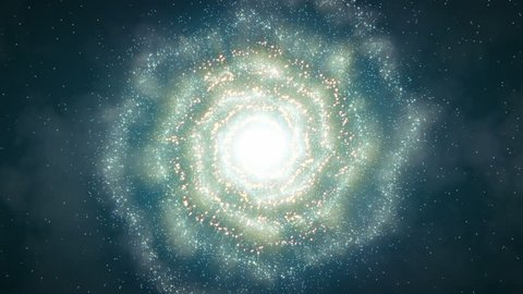 Spiral Galaxy Flight (25fps). Dramatic flight towards a nebulous spiral galaxy as it rotates through space in a sea of stars. The individual 3D particles move independently throughout the shot.