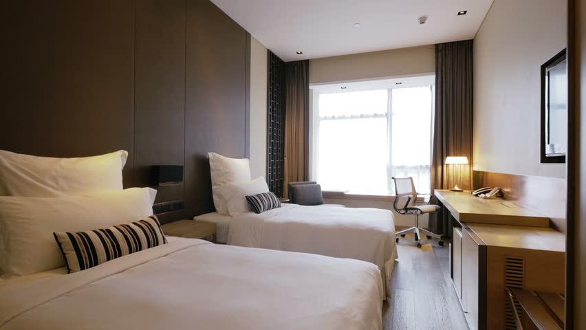 Hotel Room Interior luxury hotel room interior. 4k track shot of a luxury hotel room