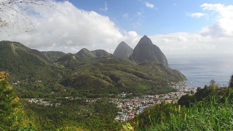 scenic Soufriere town and Pitons Saint Lucia