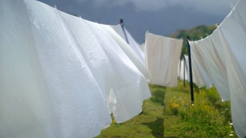 Washed white sheets from a mountain hut swaying gracefully in the wind.