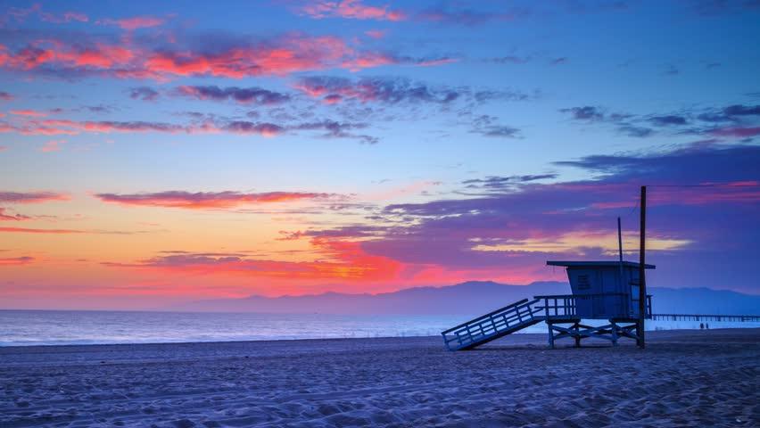 Beautiful sunset ocean in Marina Del Rey and Venice Beach. Los Angeles, California. 4K Timelapse.