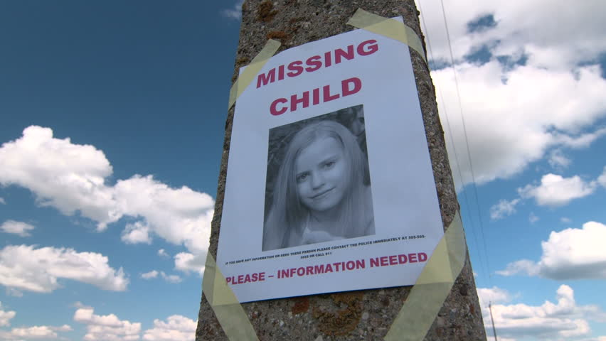 Missing Person Poster With Photo Of Little Girl Are Posted On Pole Tilt Up    HD  Lost Person Poster