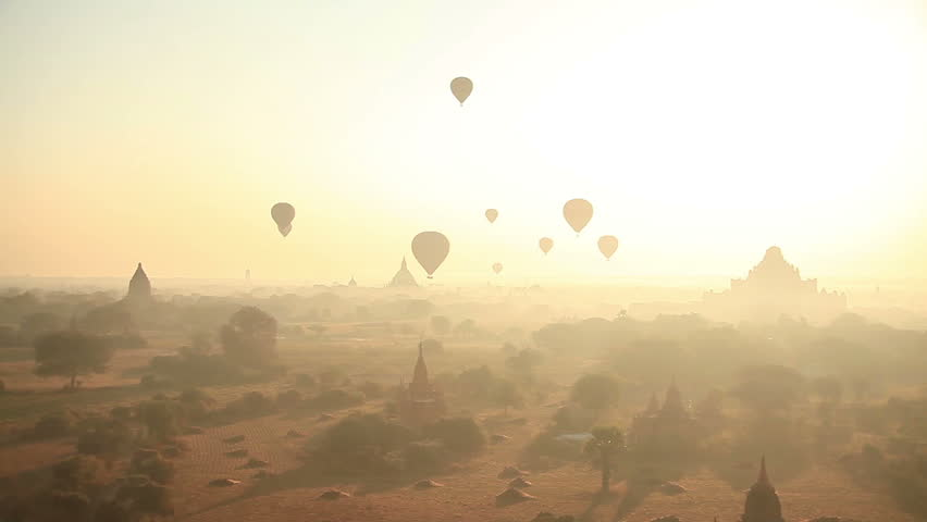 Time Lapse. Air balloons over the ancient Buddhist temples in Bagan, Myanmar. #6952354