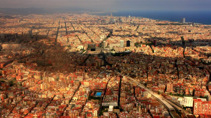 BARCELONA, SPAIN, AUGUST 2013  Aerial view over Barcelona, Spain. | Shutterstock HD Video #6957538