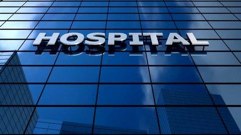 Hospital building blue sky timelapse.