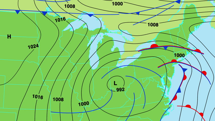 Animated Weather Forecast Map With Isobars Cold And Warm Fronts - Us map forecast