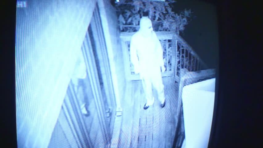 burglar looking around a house