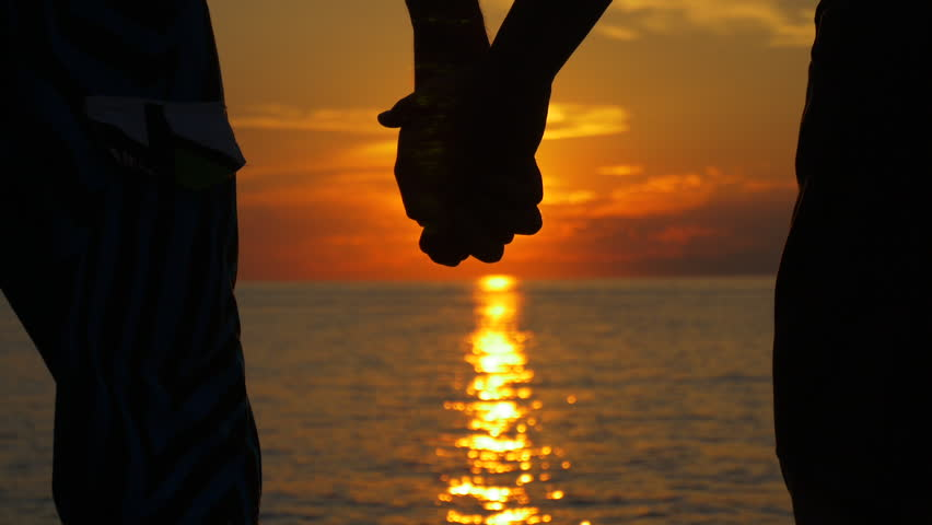 Couple Holding Hand At Ocean Stock Footage Video (100