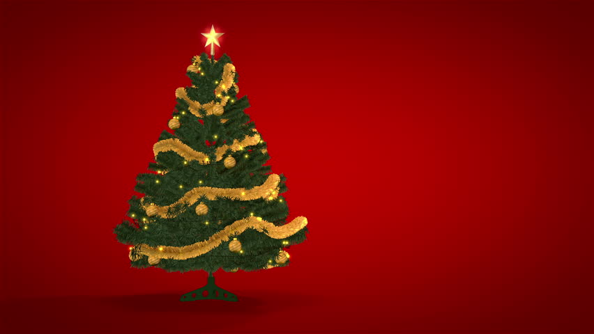 Red Christmas Background With Xmas Tree And Gifts: Christmas Tree On Snowy Red Background Stock Footage Video