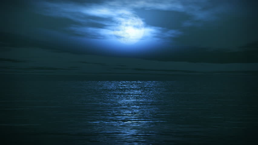 (1162) Blue Full Moon Tropical Ocean Waves Romantic Night Travel -  Great for themes of travel, cruising, nature, environment, romance, fantasy, backgrounds. Loops well with a simple fade.