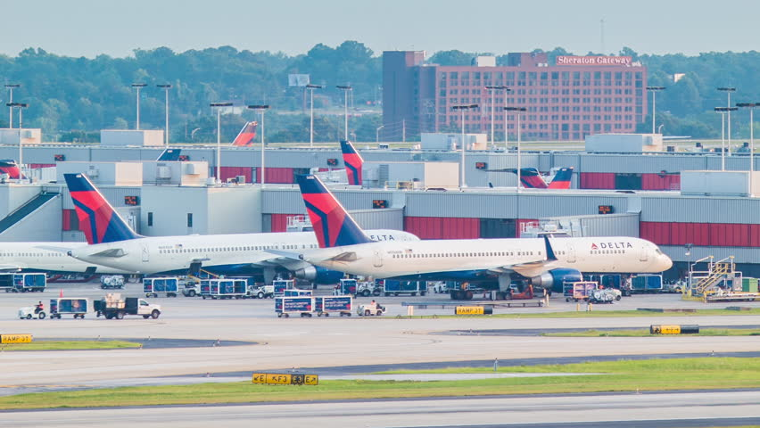 atlanta 2014 delta airlines passenger airplanes parked at the terminals of hartsfield jackson atlanta international airport stock footage video 7007824