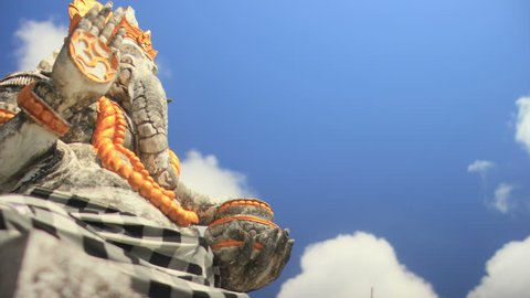 Statue of Ganesha the Elephant Hindu Deity (Cloud Time Lapse)