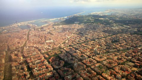 Areal/ Helicopter view of apartment buildings in Barcelona