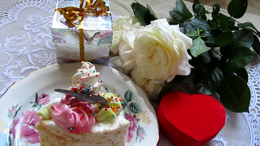 Birthday Cake Roses Flowers And Gifts Party Decoration Celebratory Video