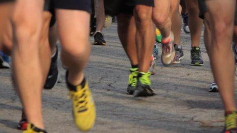 Runners feet at marathon race start